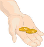 Putting in my two cents. Illustration of a hand holding two cents Stock Photo