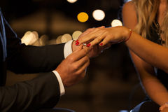 Free Putting On An Engagement Ring Stock Images - 46030614
