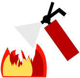 Putting out fire. Red fire extinguisher blowing out flame - vector Stock Photo