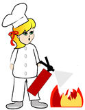 Putting out kitchen fire Royalty Free Stock Photo