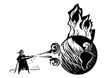 Putting out the Worlds Fires. Woodcut Fireman with hose trying to put out the burning earth Royalty Free Stock Photography