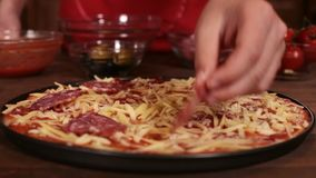 Putting salami slices on pizza - closeup stock video footage
