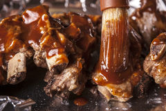 Free Putting Sauce On Ribs. Stock Image - 98380791
