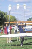 Putting sculls in Water, Rowing event, Cambridge, Massachusetts Royalty Free Stock Photos