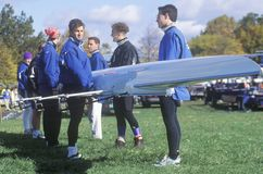Putting sculls in Water, Rowing event, Cambridge, Massachusetts Stock Photography