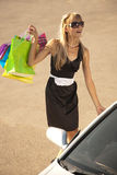 Putting shopping bags in car Stock Photo