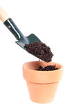Putting soil in a terracotta pot Stock Photo