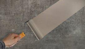 Putting stucco gray concrete slab Stock Photo
