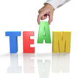 Putting TEAM 3D word together with reflection stock illustration