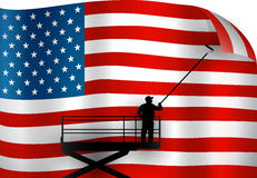 Putting up an American flag. A man putting up an american flag vector illustration
