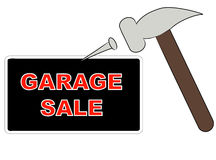 Putting up garage sale sign Royalty Free Stock Images