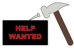 Putting up help wanted sign Stock Photos