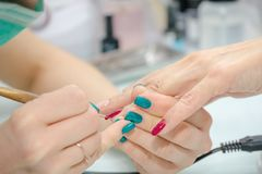 Putting varnish on nails. Processing of nails in beauty shop. Stock Image