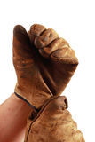 Putting on work gloves Royalty Free Stock Photo