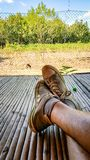 Putting your feet up on the farm stock photography