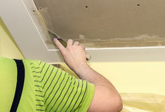 Puttying drywall seams Stock Photography
