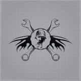 puxa o emblema do vintage no fundo do metal Imagem de Stock Royalty Free