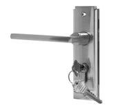 Puxador da porta da prata na opinião lateral do fundo branco Fotos de Stock Royalty Free
