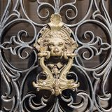Puxador da porta de bronze no le?o da porta fotos de stock royalty free