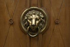 Puxador da porta do ouro em uma forma do leão com anel na boca Fotos de Stock Royalty Free