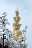 Puxian Buddha at mt emei. Mt Emei summit golden statue of Puxian Buddha that is wight of 660 tones Royalty Free Stock Photo