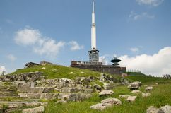Puy de Dome, France. Television transmitter  and ruins Mercury temple on the top Puy de Dome, dormant volcano in the Auvergne, France Stock Images