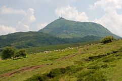 Puy de Dome, France. View on the Puy de Dome, dormant volcano in the Auvergne, France Royalty Free Stock Photo