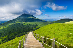 Puy de Dome mountain and Auvergne landscape during the morning. France Stock Photography