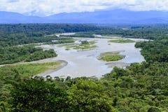 Puyo flodlandskap på en molnig dag royaltyfri foto