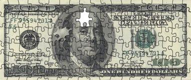 Puzlle américain du dollar Photographie stock libre de droits