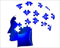 Puzzel head. Pieces of jigsaw puzzles throwing out of brain storming head conceptual Royalty Free Stock Photography