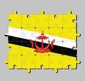 Puzzel van de vlag van Brunei Darussalam in rode kam op geel die gebied door zwart-witte diagonale strepen wordt gesneden vector illustratie