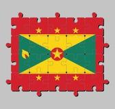 Puzzel van de vlag van Grenada in rode grens met Gouden ster zes, Gouden en groene driehoeken met rode schijf royalty-vrije illustratie