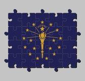 Puzzel van de vlag van Indiana in gouden die toorts door een buitencirkel van sterren wordt omringd, een binnen semi cirkel van s royalty-vrije illustratie