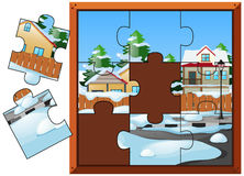 Puzzelspel met huizen in de winter stock illustratie