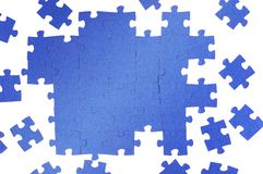 Puzzle. Photo of a blue puzzle Stock Photo