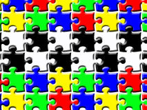 Puzzle. Illustration of colorful puzzle pieces with black and white section in the middle Royalty Free Stock Photography