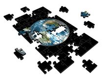 Puzzle. Pieces of puzzle with image of Earth. 3d illustration vector illustration