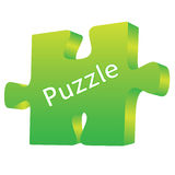 Puzzle. Green 3D  puzzle on a white background Stock Photography
