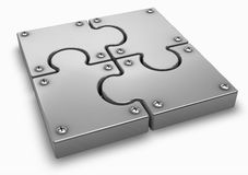 Puzzle. Chrome puzzle on a white Royalty Free Stock Image