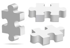 Puzzle. The three white volume puzzles Stock Photography
