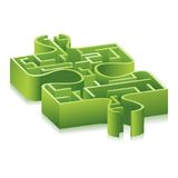 Puzzle. Illustration of maze inside piece of jigsaw puzzle Royalty Free Stock Photo