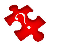 Puzzle. Question mark on jigsaw puzzle piece. 3d render illustration Royalty Free Stock Photography