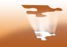 Puzzle. Lifted puzzle piece with light rays Stock Images