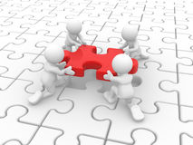 Puzzle. 3d people - human character, person and a last piece of puzzle( jigsaw) . 3d render Stock Images