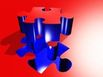 Puzzle. Red Blue Puzzle Piece Composition Stock Images