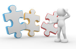 Puzzle. 3d people - man, person with piece of puzzle ( jigsaw Royalty Free Stock Photo