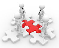 Puzzle. 3d people - man, person and a pieces of puzzle ( jigsaw) .  Partnership or leadership Stock Photography