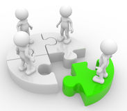 Puzzle. 3d people - men, person in group and puzzle. Discrimination stock illustration