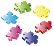 Puzzle. Three-dimensional colour vector puzzles on a white background Stock Photo